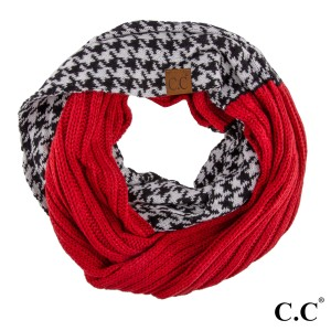 """C.C brand knit infinity scarf with a houndstooth pattern. 100% acrylic. Measures 15"""" x 33"""" in size."""