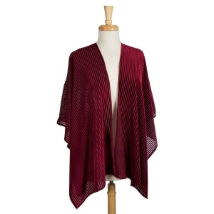 Crushed velvet, short sleeve kimono striped pattern. 100% polyester. One size fits most.
