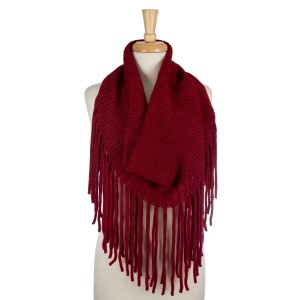 "Heavyweight, knit, infinity scarf with long fringe. 100% acrylic. Measures 18"" x 24"" in size and can be worn as a tube scarf."