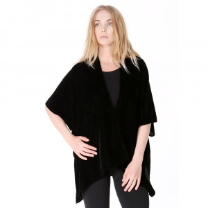 Velvet, short sleeve kimono. 50% nylon and 50% rayon. One size fits most.