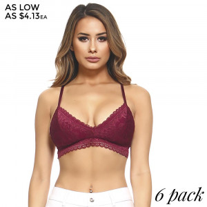 Lace bralette with a V-neckline, adjustable racerback straps, and a fringe trim is great under everything. 85% nylon and 15% spandex. Sold packs of six - 2S, 2M, 2L. Size runs small.