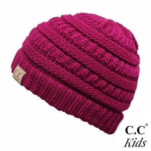 "C.C YJ-847KIDS Knit beanie for kids  - 100% Acrylic - Band circumference is approximately:  14"" unstretched  18"" stretched - Approximately 6"" long from crown to band - Fit varies based on child's head height and shape"