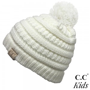 "C.C YJ-847-POM-KIDS Solid color knit pom beanie for kids  - 100% Acrylic - Band circumference is approximately:  14"" unstretched  18"" stretched - Approximately 6.5"" long from crown to band - Fit varies based on child's head height and shape"