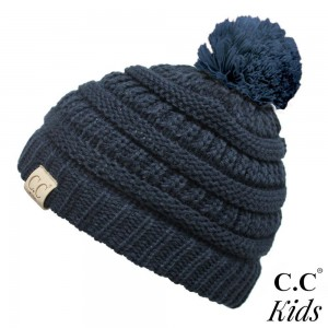 "YJ-847-KIDS-POM: C.C Kids Exclusive Pom Pom Beanie. 100% acrylic. Measures 7"" in diameter and 8"" in length.  Approximate fit: 4 to 7 years of age."