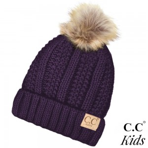 "KIDS-820: C.C Kids Exclusive faux fur pom pom beanie. 100% acrylic. Measures 7"" in diameter and 8"" in length. Approximate fit: 4 to 7 years of age."
