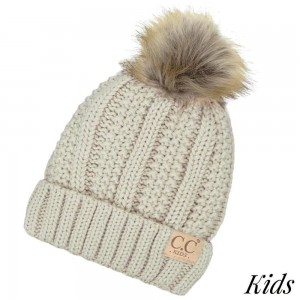 "C.C KIDS-820 Solid ribbed kids beanie with pom and fuzzy lining  - 100% Acrylic - Band circumference is approximately:  14"" unstretched  18"" stretched - Approximately 7"" long from crown to band - Fit varies based on child's head height and shape"