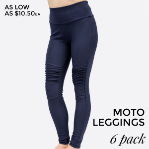 Navy blue, moto leggings with no front or back pockets. 68% cotton, 27% polyester, and 5% spandex. Sold in packs of six - one small, two mediums, two larges, one extra large.
