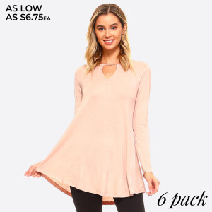 Long Sleeve Crew-Neckline Tunic  - Lightweight jersey tunic.  - Crew neckline. - Long sleeves.  - Relaxed silhouette.  - Pullover style.  - Rayon/spandex.  - Imported   Composition: 95% Rayon, 5% Spandex  Pack Breakdown: 6pcs/pack. 2S: 2M: 2L
