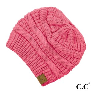 "C.C MB-20A  Solid color beanie tail hat ""The Original"" messy bun beanie  - 100% Acrylic  - One size fits most - Matches: HAT-20A, G-20 and SF-800"