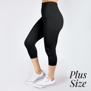 PLUS SIZE - New Kathy / New Mix black, summer-weight capris are seamless, chic, and a must-have for every wardrobe. These lightweight, interchangeable styles are versatile, perfect for layering, and available in many shades. Smooth fabric, 92% Nylon 8% Spandex. One size, fits US women's 16-20.