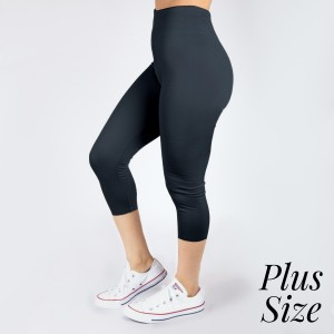 PLUS SIZE - New Kathy / New Mix charcoal, summer-weight capris are seamless, chic, and a must-have for every wardrobe. These lightweight, interchangeable styles are versatile, perfect for layering, and available in many shades. Smooth fabric, 92% Nylon 8% Spandex. One size, fits US women's 16-20.
