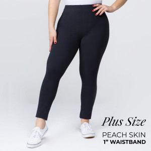 """These plus size New Mix Brand peach skin leggings are seamless, chic, and a must-have for every wardrobe. These lightweight, full-length leggings have a 1"""" waistband. They are versatile, perfect for layering, and available in many colors. 92% Polyester 8% Spandex. One size, fits US women's 16-20."""