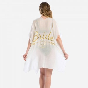 "Lightweight, short sleeve kimono with ""Bride"" message on the back in metallic gold print. 100% viscose. One size fits most."