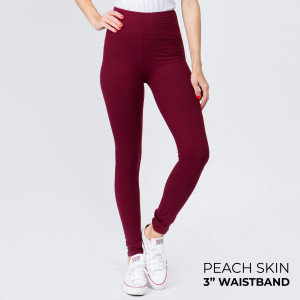 """These New Mix Brand peach skin leggings are seamless, chic, and a must-have for every wardrobe. These lightweight, full-length leggings have a 3"""" waistband. They are versatile, perfect for layering, and available in many colors. 92% Polyester 8% Spandex. One size fits most, fits US women's 0-14."""