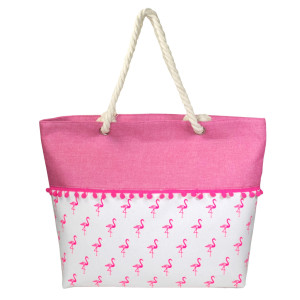 "Canvas tote bag with a pom pom trim, top zipper closure, rope handles and a lining inside with pockets. 35% cotton and 65% polyester. Measures 21"" x 15"" in size."