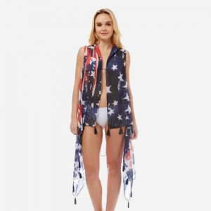 Lightweight, American flag vest with tassel accents. 100% polyester. One size fits most.