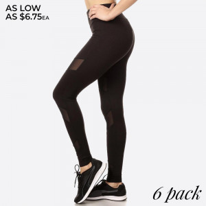 SPORT LEGGING WITH MESH PANELS WITH ELASTIC WAISTBAND AND OVERLOCK STITCHING DETAIL.   SIZE:S-M-L-XL (1-2-2-1) PACKAGE:6PCS/PREPACK 92% POLYESTER, 8% SPANDEX,  MESH: 90%POLYESTER, 10%SPANDEX