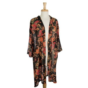 Lightweight, black kimono with a paisley and floral print. 100% polyester. One size fits most.