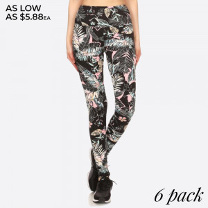 TROPICAL PRINT, SKINNY FIT POLY BRUSHED FULL LENGTH SPORTS LEGGINGS WITH A BANDED ELASTIC HIGH WAIST & BODY SLIMMING TUMMY CONTROL. SUPER SOFT, STRETCHY AND COMFORTABLE.   SIZE:S-M-L-XL(1-2-2-1) PACKAGE:6PCS/PREPACK 94% POLYESTER 6% SPANDEX
