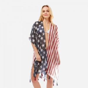 Lightweight, American flag printed kimono with tassel accents. 100% polyester. One size fits most.