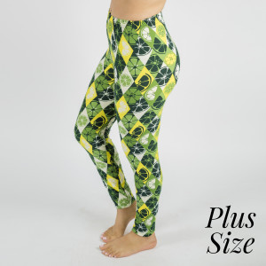 """PLUS SIZE - These New Mix printed peach skin leggings are seamless, chic, and a must-have for every wardrobe. These lightweight, full-length leggings have a 1"""" waistband. They are versatile, perfect for layering, and available in many unique prints. 92% Polyester and 8% Spandex. One size, fits US women's 16-20."""