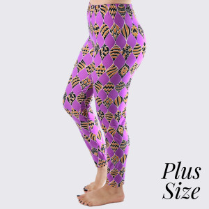 "PLUS SIZE - These New Mix printed peach skin leggings are seamless, chic, and a must-have for every wardrobe. These lightweight, full-length leggings have a 1"" waistband. They are versatile, perfect for layering, and available in many unique prints. 92% Polyester and 8% Spandex. One size, fits US women's 16-20."