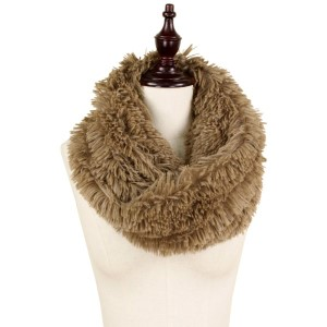 "Faux fur twisted tube scarf.    - Approximately 16"" W x 11.5"" L  - 100% Polyester"