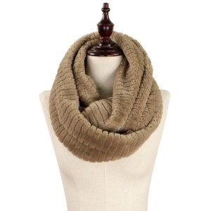 "Stripe faux fur infinity scarf.   - Approximately 7"" W x 31"" L - 100% Polyester"