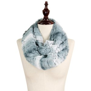 "Ombre texture faux fur infinity scarf.  - Approximately 7"" W x 31"" L - 100% Polyester"