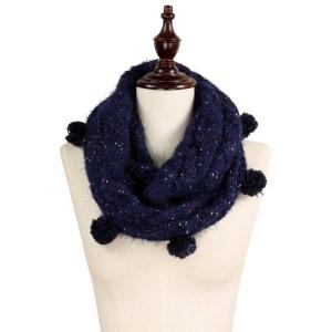 """Multi color knit pompom infinity scarf.   - Approximately 7"""" W x 25"""" L - 100% Acrylic"""