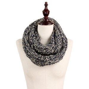 Soft knit multi colored infinity scarf. 100% acrylic.