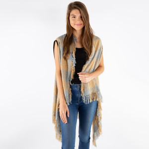 "Soft touch buffalo check vest with fringes.  - One size fits most 0-14 - Approximately 36"" in length - 100% Acrylic"