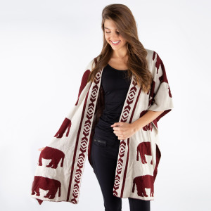 Elephant printed shawl. 100% acrylic.   One size fits most.