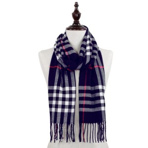Plaid oblong scarf with fringes.  - 100% Acrylic