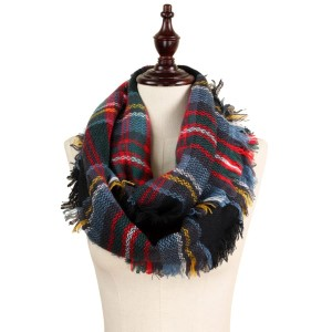 "Woven plaid infinity scarf.   - Approximately 13.5"" W x 31.5"" L - 100% Acrylic"