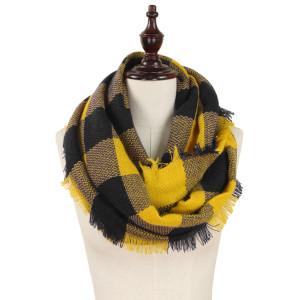 "Buffalo check woven infinity scarf.   - Approximately 19"" W x 33.5"" L - 100% Acrylic"