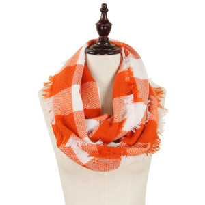 "Buffalo plaid woven infinity scarf. 100% acrylic.   19""W x 33.5""L"