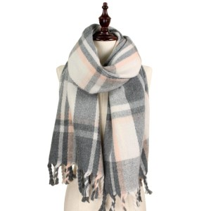 Soft touch heavy weight plaid scarf. 100% acrylic.