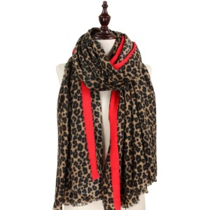 Lightweight leopard print scarf with red accent.   - 100% Acrylic