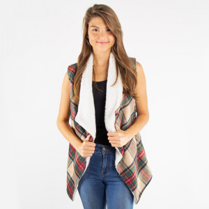 "Tartan plaid vest with sherpa lining and pocket details.  - One size fits most 0-14 - Approximately 24"" in length - 100% Polyester"