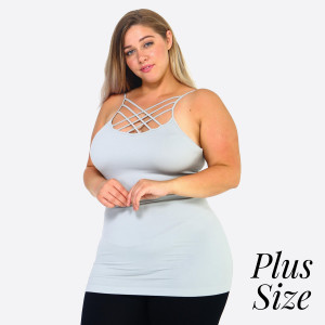 The summer must have is here! This sexy cami top features spaghetti straps, solid color, sleeveless and crisscross design. Wear this top with distressed shorts and take on Summer in style! One Size Fits Most Plus 16-22.   - Scoop-neck  - Unique Crisscross Front  - Spaghetti Straps  - Ultra Soft  - Stretchy Knit  - Machine Wash  - Imported   Content: 92% Nylon, 8% Spandex