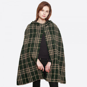 "Check plaid front slit woven cape shawl. 100% polyester. 33.5"" x 37.4"""