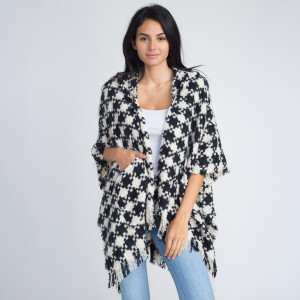 Houndstooth shawl with hood and front pockets. 100% acrylic.   One size fits most.