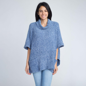 Loose fitting chenille turtle neck poncho with front pockets. 100% polyester.   One size fits most.