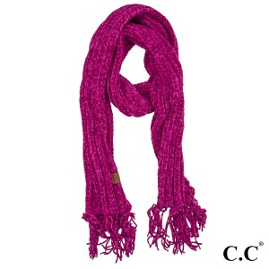 "C.C SF-1815 Chenille scarf with tassels  - 100% Chenille  - One size fits most - W:11"" X L:71"""