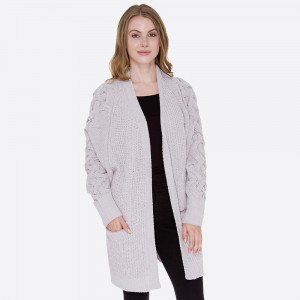 Heavyweight knit cardigan with front pocket details.  - One size fits most 0-14 - 100% Acrylic