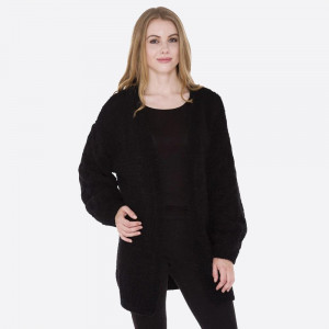 Oversize mohair knit cardigan. 70% Polyester and 30% polyamide.   One size fits most.
