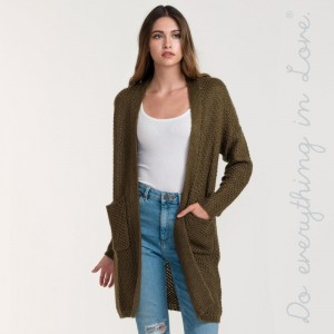 Light weight long sleeve knit cardigan with pockets.    100% Arylic