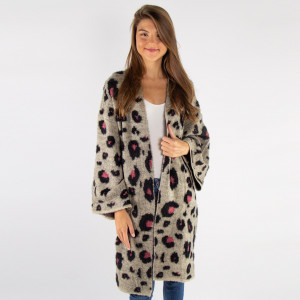 Heavyweight mohair leopard print cardigan.   - One size fits most 0-14 - 60% Polyamide, 20% Acrylic, 20% Polyester