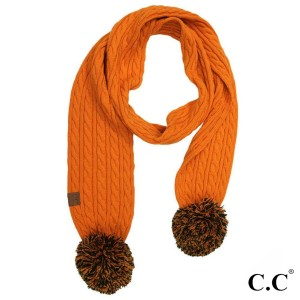 "C.C SK-56 Skinny scarf with knit pom  - 100% Acrylic - One size fits most - W: 12.5"" X L: 59"" + Pom: 4"""